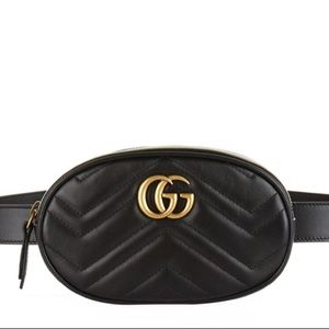 GUCCI Leather Marmont Matelassé Belt Bag